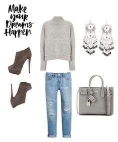 """""""❤️"""" by lovestyle123 ❤ liked on Polyvore featuring Frame Denim, White House Black Market, Yves Saint Laurent, Fragments and Giuseppe Zanotti"""