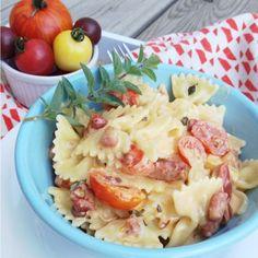Farfalle with Crispy Pancetta, Heirloom Tomatoes in a White Wine GarlicCream - The Kitchen McCabe