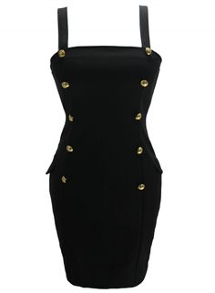 Black Women Gold Button Fly Side Mock Pocket Mini Dress AZBRO.com