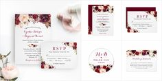 A Burgundy Marsala Red Floral Invitation Suite, with items from invitation to RSVP card, Thank You Card, Stickers, Address Label, Sign Poster, and more.