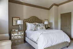 ... taupe headboard, taupe velvet tufted headboard, chest as nightstand