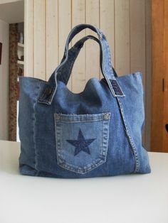 sac cabas en jean recyclé poche etoile star bleu navy