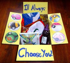 Pokemon care package! The hubs LOVED the one I sent. Slightly different decoration, but same idea ;)