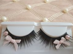 False Lashes With A Tiny Pink Bow And Pearl For Dressing Up
