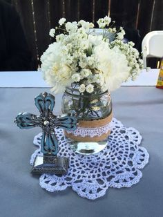 gypsophila and wheat centerpieces first communion Baptism Party Centerpieces, Communion Centerpieces, First Communion Decorations, Wheat Centerpieces, Centerpiece Ideas, Baptism Table Centerpieces, Boy Baptism Decorations, Eucalyptus Centerpiece, Quinceanera Centerpieces