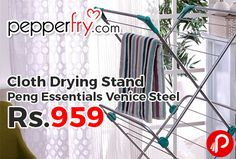 Pepperfry is offering Peng Essentials Venice Steel White & Green Cloth Drying Stand is just Rs.959. Light Weight 3 levels of Drying 6 way Drying Stand, Weight: 4000 Grams, Dimensions (In Inches): L: 24 W: 18.5 H: 55.5.  http://www.paisebachaoindia.com/cloth-drying-stand-peng-essentials-venice-steel-just-rs-959-pepperfry/