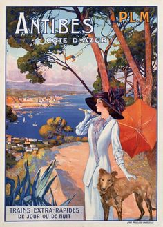 LADY READING Papillon Dog on Beach Large Vintage French Poster Repo FREE S//H