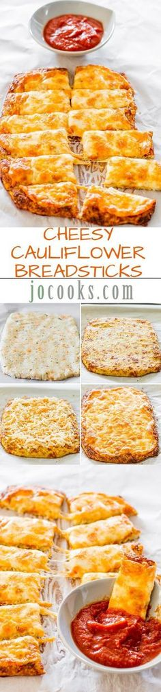 Cheesy Cauliflower Breadsticks: this was really pretty good, I steamed and then mashed the cauliflower by hand, it tastes like potatoes and has a slight quiche like quality to it. Halved recipe and used Colby jack cheese and Italian seasoning. I would try this again w/a sharper cheese. Made 3/27/15 Cauliflower Breadsticks, Cheesy Cauliflower, Cauliflower Recipes, Vegetable Recipes, Breadsticks Recipe, Riced Cauliflower, Cauliflower Protein, Cheesy Breadsticks, Gluten Free Recipes