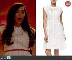 Santana's white lace zip front dress on Glee. Outfit Details: http://wornontv.net/47116/ #Glee