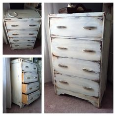 Waterfall dresser redone and antiqued to a farmhouse/barn wood style
