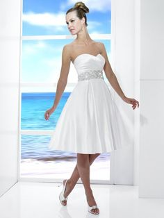 Beach Informal Ivory White $ - $700 and under A-line Beading Fall Moonlight Tango Natural Ruching Satin Short Sleeveless Spring Strapless Summer Sweetheart Wedding Dresses Photos & Pictures - WeddingWire.com