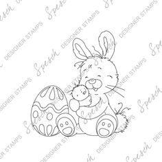 Bunny with Chick Digital Stamp