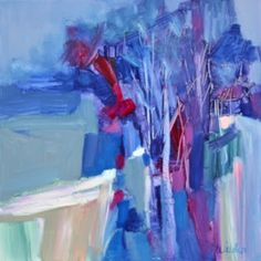 """Daily Painters Abstract Gallery: """"Winter in the Park"""" by Texas Contemporary Artist, Judy Wilder Dalton"""