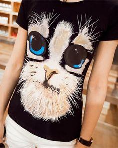cute slim womens 3D cat t shirt short sleeve-