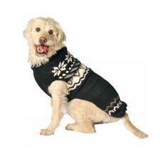 Chilly Dog Black Aspen Dog Sweater, XX-Large