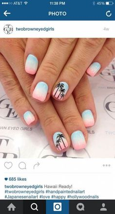 Ombré with palm trees beach holiday nails, summer beach nails, beach toe nails, Cute Acrylic Nails, Cute Nail Art, Plage Nail Art, Hawaii Nails, Florida Nails, Cruise Nails, Palm Tree Nails, Nails With Palm Trees, Nails 2017