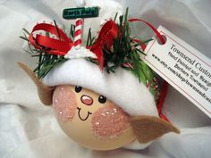 hand painted ornaments | Elf Ornament Christmas Tree Bulb Hand Painted ... | Christmas Ornamen ...