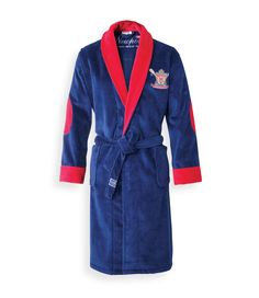 Rowing Club Bathrobe. By Newport Collection. Stylish blue and red bathrobe with elbow patches and a Rowing Club logo. Made in Turkey, 100% cotton velour. Unisex. Öko-Tex. #Newport #Newportcollection #rowingclub #rowing #bathrobe