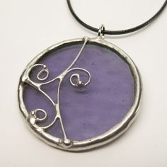 Dancing Violet Stained Glass Pendant with Black by faerieglass