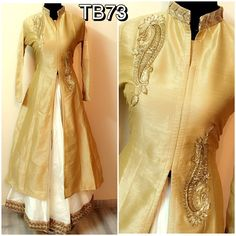 TB73 silk Kurti with silk skirt with inner attached Kurti 40+4 White golden Skirt : 32 with side zip Blue red skirt : can be stretch till 42  Set 4400/- rs + shipping