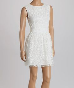 Loving this White Lace Sleeveless Dress on #zulily! #zulilyfinds
