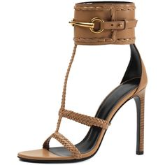 Gucci Ursula Ankle-Strap Sandal ($585) ❤ liked on Polyvore featuring shoes, sandals, heels, gucci, camelia, leather shoes, leather ankle strap sandals, woven leather sandals, high heel shoes and gucci shoes
