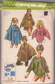 Simplicity 8850 Vintage 70's Sewing Pattern MUST SEE Jiffy Mod Blanket Poncho, Nehru Collar Cape, Cloak and Hippie Jacket, Coat Made From Towels!