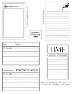"""Free Printable Journaling Cards - Ephemera Inspired ....an ephemera """"feel"""" to them and I've done these in black and white. These are great to print out and hand age the edges. Or you can fill in the colors before you print out....."""