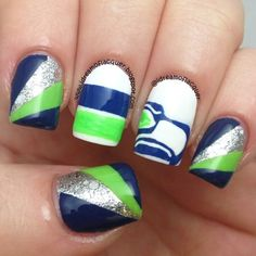 NFL Game Day Nails: 49ers, Broncos, Patriots - Seattle Seahawks, Seahawks Nails - #seattleseahawks #seahawksnails
