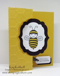 Learn how to create this flip card using framelits from my Stamping to Share video which you will find at this blog post: http://www.stampingtoshare.com/2015/02/baby-bumblebee-label-framelits-flip-card.html