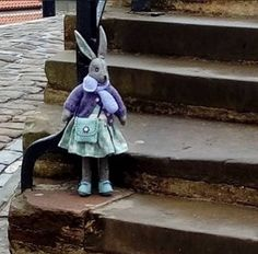 Linda's Luna on the steps at Whitby Cool C, Fabric Toys, Toy Craft, Cute Bears, Sewing Toys, Rag Dolls, Soft Dolls, Stuffed Toys, Softies