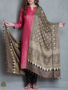 Black-Brown Ajrakh Printed Gajji Silk Dupatta by Jaypore