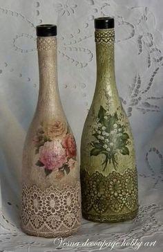 Botellas con decoupage