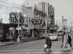 Christmas along 10th Street at J Street,  late 1950s.  Modesto, Ca.