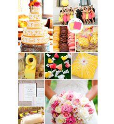 Rosa e amarelo para decoração do casamento