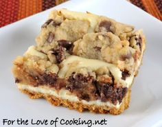 easy choc chip cookie cheesecake - especially with pre-made choc chip dough - and don't they make cheesecake filling now too?