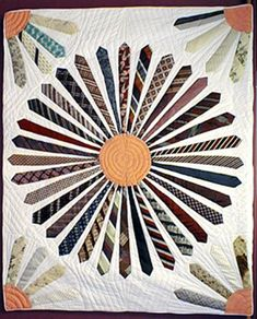 Historically Modern: Quilts, Textiles & Design: Scale in Vintage Quilts Quilting Projects, Quilting Designs, Sewing Projects, Tie Crafts, Sewing Crafts, Necktie Quilt, Old Ties, Quilt Modernen, Scrappy Quilts