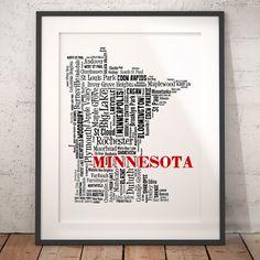 Minnesota Map Typography Art Poster Print, Minnesota City Town, Minnesota Wall Art, Minnesota Poster Print, Bar Decor,Travel Moving Gift