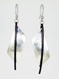 Silver and Steel Drops by Dennis Higgins (Silver & Steel Earrings) | Artful Home