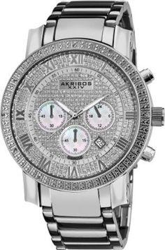 Relógio Akribos XXIV Men's AKR439SS2 Grandiose Dazzling Diamond Chronograph Stainelss Steel Bracelet Watch #Relógio #Akribos