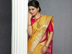 Samantha in red n yellow silk