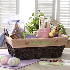 Basket farmhouse wire basket home decor baby shower gift baskets celebrate the holiday with the easter embroidered liner find the best personalized easter gifts negle Images