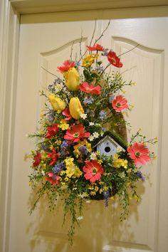 Spring Birdhouse Door Arrangement in Moss Basket
