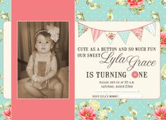 Baby Girl Shabby Chic Birthday Invitation via Etsy