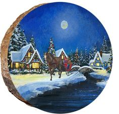 Hand Painted Ornaments, Wood Ornaments, Christmas Ornaments, Christmas Town, Christmas Ideas, Thin Ribbon, Wood Pieces, Winter Cabin, Pebble Painting