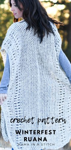 This free crochet pattern will show you how to make a gorgeous, long crocheted cardigan ruana. Diy Crochet Top Pattern, Crochet Poncho, Crochet Scarves, Free Crochet, Crochet Patterns, Easy Patterns, Crochet Tutorials, Crochet Tops, Crochet Ideas