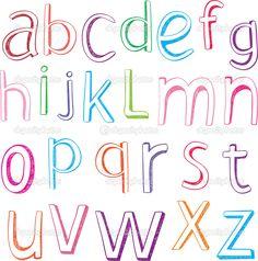 alphabet letters | Hand drawn alphabet letters - Stock Illustration