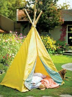 This tent-like tipi has an air mattress inside for added comfort and makes a great place for children to play (or nap!).