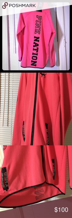 VICTORIA SECRET PINK NATION BLING LARGE WORN ONCE Worn one time original price $150 rare logo PINK Victoria's Secret Jackets & Coats Trench Coats