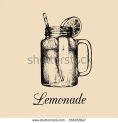 Mason jar sign. Vector illustration of homemade lemonade. Hand drawn sketch of mason jar with straw and slice of lemon. Non-alcoholic drink. Restaurant, bar menu design.